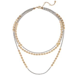 Two Tone Disc Multi Strand Necklace