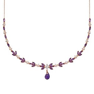 14k Rose Gold Over Silver Amethyst & Lab Created White Sapphire Necklace