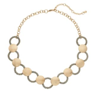Disc & Textured Ring Necklace
