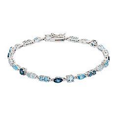 Sterling Silver London, Swiss & Sky Blue Topaz Bracelet
