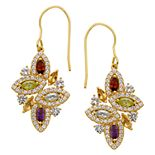 18k Gold Over Silver Gemstone Cluster Drop Earrings