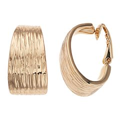 Napier Textured Clip-On Hoop Earrings