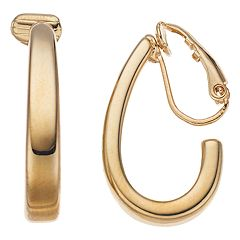 Napier Clip-On Teardrop Hoop Earrings