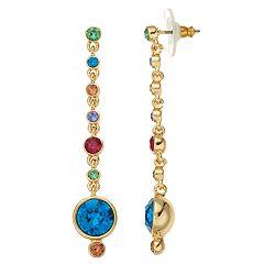 Dana Buchman Multi Colored Swarovski Crystal Linear Drop Earrings