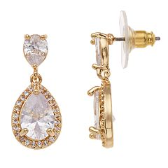 Dana Buchman Gold Tone Cubic Zirconia Teardrop Earrings