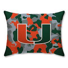 Miami Hurricanes Camo Throw Pillow