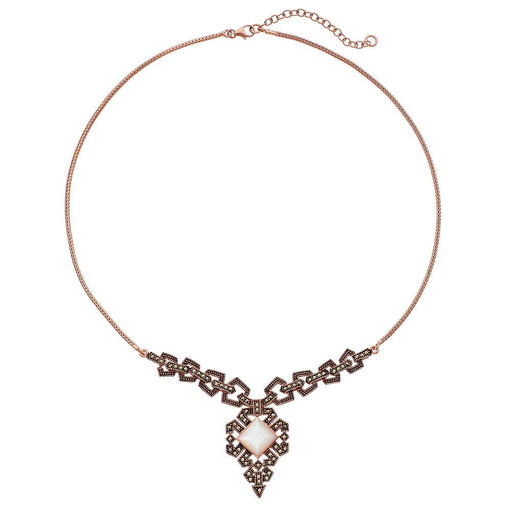 Le Vieux 18k Rose Gold Over Silver Art Deco Necklace