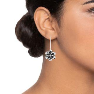 Dana Buchman Simulated Crystal Flower Motif Threader Earrings