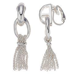 Dana Buchman Silver Tone Tassel Drop Clip-On Earrings