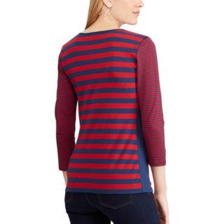 Women's Chaps Striped Notchneck Top