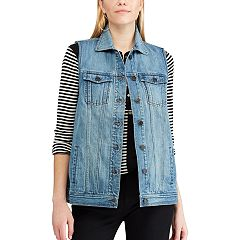 Women's Chaps Long Denim Vest
