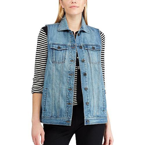 Women's Chaps Long Denim Vest