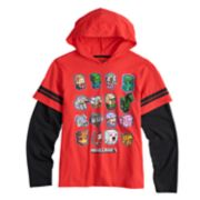 Boys 8-20 Minecraft Mock-Layered Hooded Tee