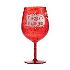 Hallmark The More the Merrier Jumbo Red Glitter Wine Glass