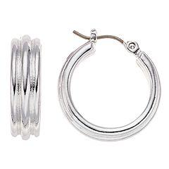 Dana Buchman Silver Tone Small Ribbed Hoop Earrings