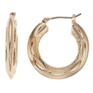 Dana Buchman Gold Tone Thick Hammered Hoop Earrings