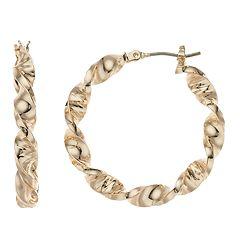 Dana Buchman Gold Tone Twisted Hoop Earrings