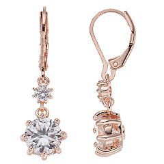Dana Buchman Rose Gold Tone Double Drop Earrings