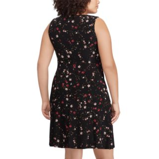 Plus Size Chaps Floral Gathered Fit & Flare Dress