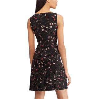 Women's Chaps Floral Gathered-Waist Fit & Flare Dress