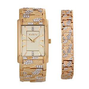 Elgin Men's Crystal Watch & Bracelet Set