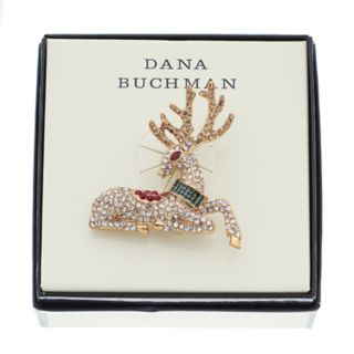 Dana Buchman Gold Tone Simulated Crystal Reindeer Pin