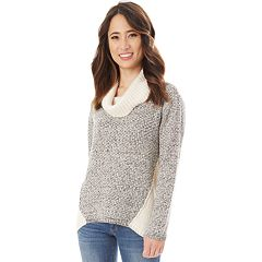 Juniors' IZ Byer Cowlneck Two-Tone Sweater
