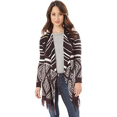 Juniors' IZ Byer Striped & Geometric Waterfall Cardigan