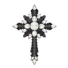 Dana Buchman Black & White Cross Pin