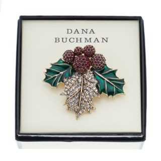 Dana Buchman Simulated Crystal Holly Leaf Pin