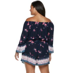 Juniors' Plus Size Mudd Off The Shoulder Romper