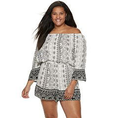 Juniors' Plus Size Mudd® Off The Shoulder Romper