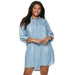 Juniors' Plus Size SO® Chambray Utility Shirtdress