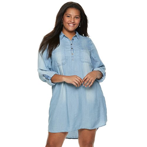 Juniors\' Plus Size SO® Chambray Utility Shirtdress