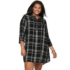 Juniors' Plus Size SO® Plaid Utility Shirtdress