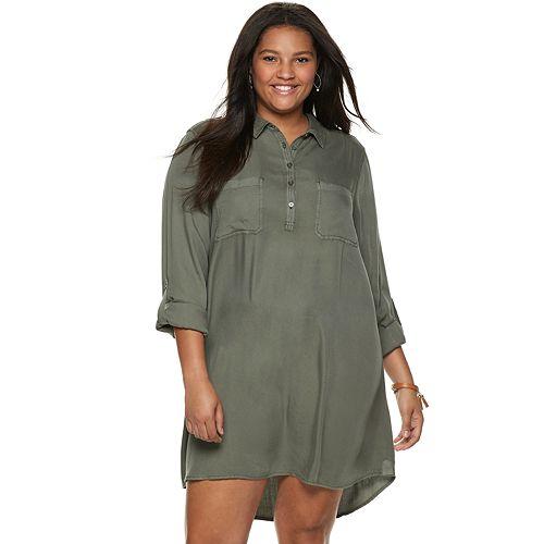 c7dfab166 Juniors' Plus Size SO® Solid Utility Shirtdress