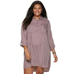 Juniors' Plus Size SO® Solid Utility Shirtdress