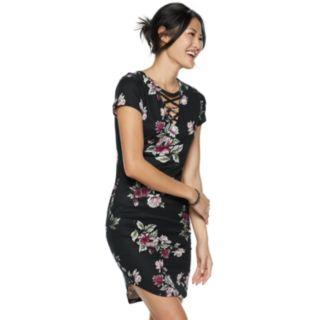 Juniors' Almost Famous Cross Front Short Sleeve Dress
