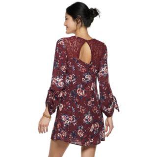 Juniors' Speechless Lace Back Long Sleeve Shift Dress