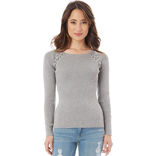 Juniors' IZ Byer Ribbed Lace-Up Shoulder Sweater