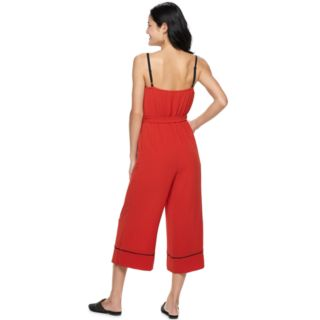 Juniors' AS U WISH Piped Crop Jumpsuit