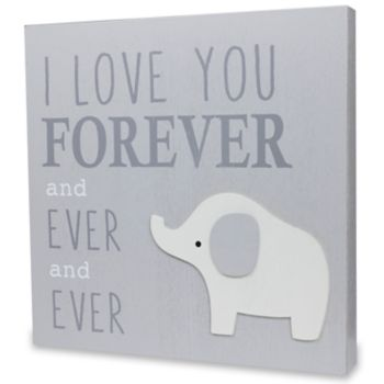"""Wendy Bellissimo """"I Love You Forever"""" Elephant Wall Art"""