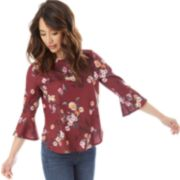 Juniors' IZ Byer Boatneck Bell Sleeve Top