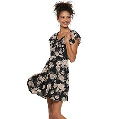Juniors' American Rag Ruffled Floral Fit & Flare Dress