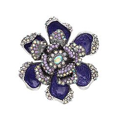Dana Buchman Purple Simulated Crystal Flower Pin