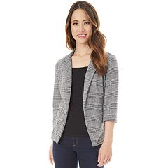Juniors' IZ Byer Plaid Ponte Blazer