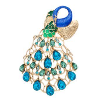 Dana Buchman Simulated Crystal Peacock Pin