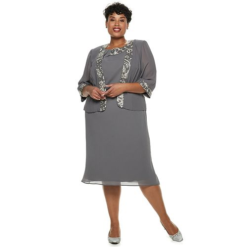 Plus Size Le Bos Embroidered Dress & Jacket Set