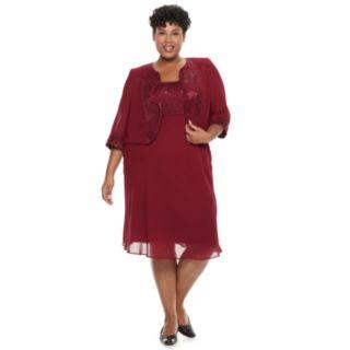 Plus Size Le Bos Embroidered Dress & Jacket Set