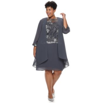 Plus Size Le Bos Embroidered Dress & Duster Jacket Set